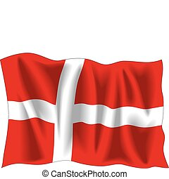 Denmark flag - Waving flag of Denmark isolated on white