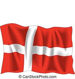 Denmark flag - Waving flag of Denmark isolated on white
