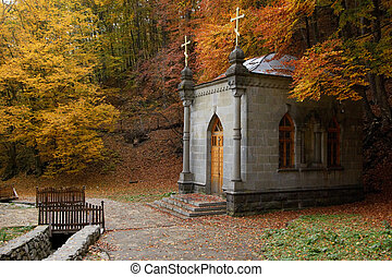Chapel in autumn forest - Orthodoxy Monastic Chapel in...