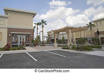 tropicais, faixa, centro comercial