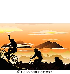 Mountain biking - A vector illustration of a group of...
