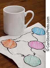 blank abstract flowchart on napkin