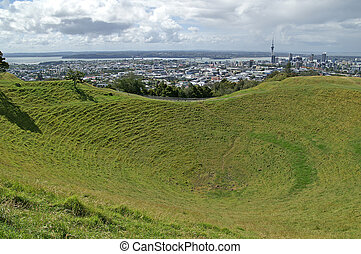 Mount Eden, Auckland - View over Mt Eden crater Maungawhau...