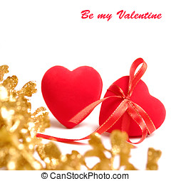 Red hearts - Two red hearts with ribbon and golden twig...