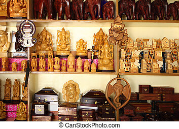 Indian handicraft display - A shop display of Indian...