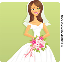 Bride with Flowers - A pretty bride holding a bouquet