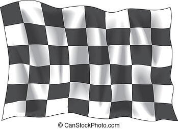 Checkered flag - Race finish flag isolated on white...