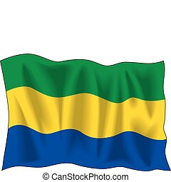 Gabon Flag - Waving flag of Gabon isolated on white