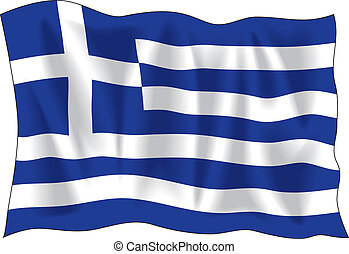 Greek flag - Waving flag of Greece isolated on white