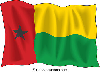 Flag of Guinea Bissau - Waving flag of Guinea Bissau...