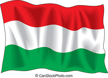 Hungarian flag - Waving flag of Hungary isolated on white