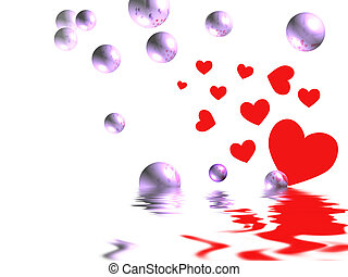 Love Bubbles - Red hearts and purple bubbles with...