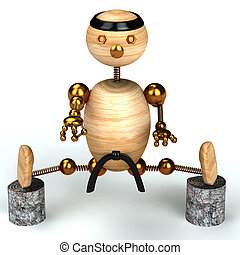 karate wood man 3d rendered for web and commercial