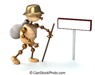wood man traveler 3d rendered for web and commercial