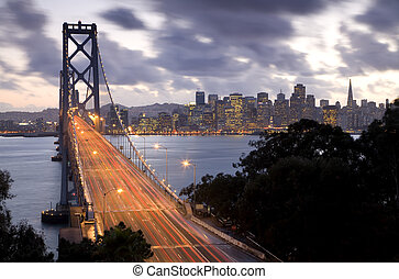 Bay Bridge to San Francisco - Time exposure image of traffic...