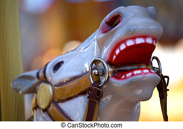 Merry-Go-Round Horse - Detail of a painted carousel horse at...