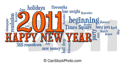 2011 happy new year word cloud