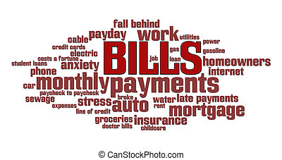 Bills Word Cloud - Bills word cloud over a money pile...