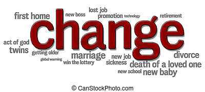 Life changes - Word cloud with change in bold red letters...