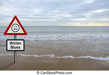 Concept of Seasonal Affective Disorder, with beach / sea...