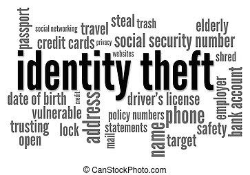 identidad, robo, palabra, nube