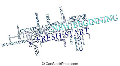 New Beginning - New beginning word cloud on white background