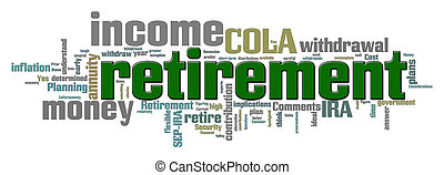 Retirement Word Cloud - Word cloud illustration with...