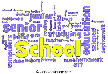 School Word Cloud - School themed word cloud on white...