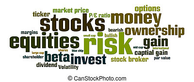 Equities Stocks Risk - Word cloud with stock, equity, risk...