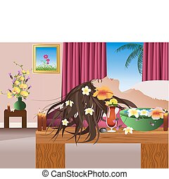 Vector Spa - Vector woman having spa treatment