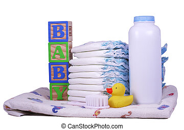 Baby Diapers - Items for a new baby, diapers, powder,...