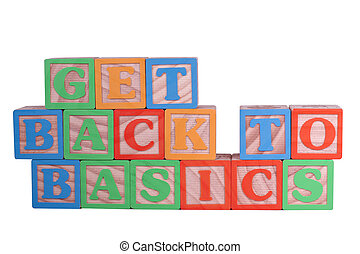 Get Back to Basics - Get back to basics is spelled in wooden...