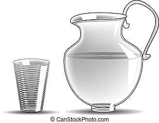 Glass Pitcher - Retro Clipart Illustration isolated