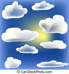 Sun And Cloud - sun peeking round a cloud. on blue sky