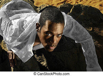 Young Man - Fashion portrait of young male model in desert