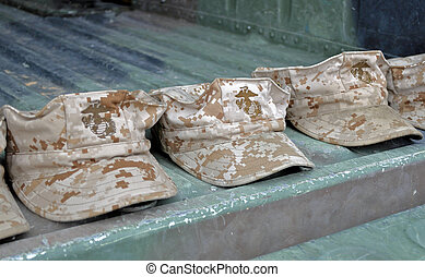 USMC Teamwork - USMC Camouflage Fatigue Caps in Formation.