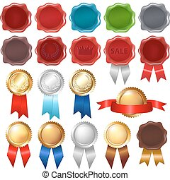 Collection Wax Seal And Award Ribbons, Isolated On White...