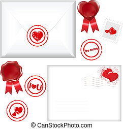 Post Love Set - 2 Envelope With A Stamp In Form Of Heart,...