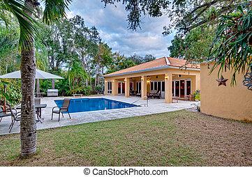 Lush landscaped backyard - View of modern home backyard with...