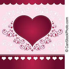 Valentine Card - light version - Heart floral valentine...