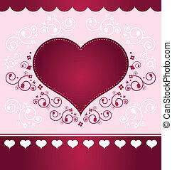 Valentine Card - light version - Heart floral valentine...