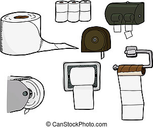 Toilet Paper Rolls and Dispensers - Set of 7 isolated,...