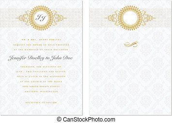 Vector Gold Frame Set with Sample Text - Vector ornate frame...