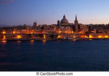 Valletta, noturna,  Malta, vista