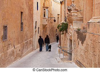 Old street of european town - Old narrow street of european...