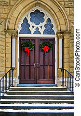 Christmas Wreaths - Christmas wreath on church doors.