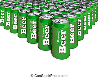 Beer Cans - 3d illustration of green beer cans
