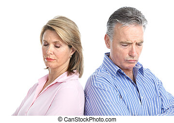 Divorce - Sad elderly couple. Divorce. Isolated over white...