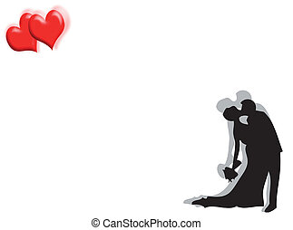 Wedding and hearts - Wedding background with couple kissing...
