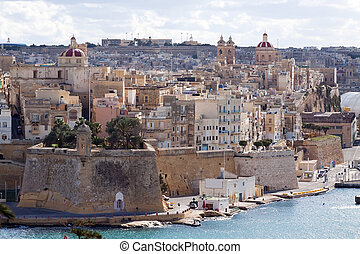View of Senglea from Valletta Three cities, Malta